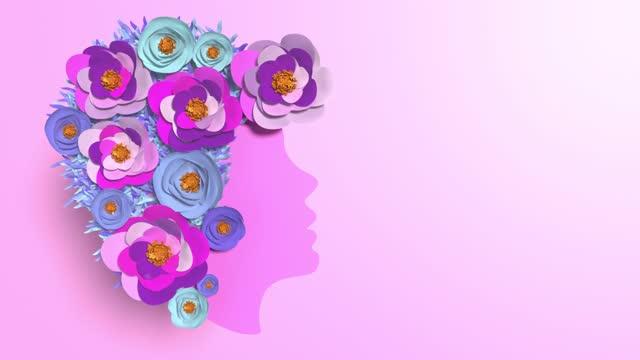 frauen silhouette mit blumen machen ein herz form zu feiern 8. märz internationalen frauentag animation in 4k-auflösung - internationaler frauentag stock-videos und b-roll-filmmaterial