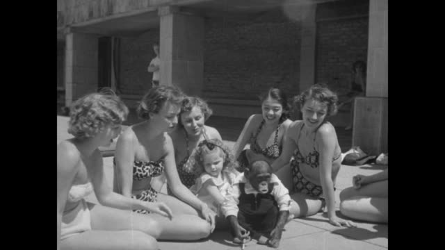 women sitting in circle with little girl two women trying to hold chimpanzee who struggles to get away / chimp runs away / chimp sits in middle of... - 1951 stock-videos und b-roll-filmmaterial
