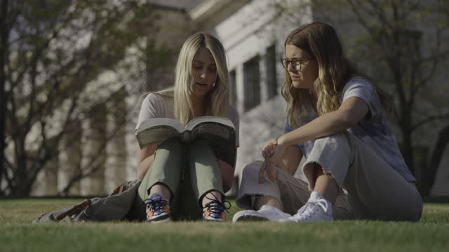 women sitting in grass studying textbook at college / provo, utah, united states - provo stock videos & royalty-free footage