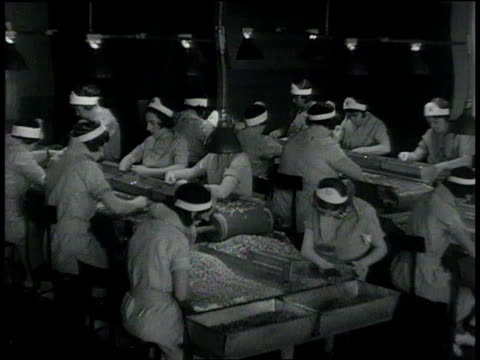 1932 montage women sorting and boxing almonds / united states - 女子ボクシング点の映像素材/bロール