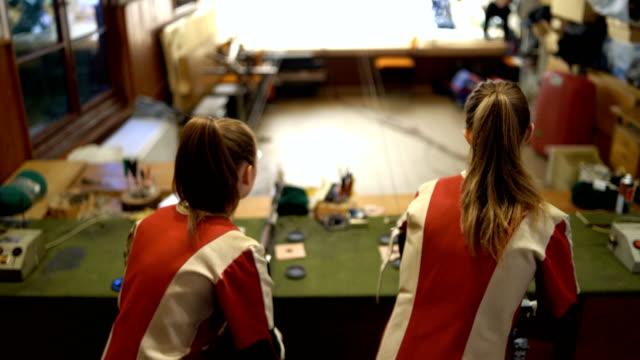 women sport shooter training - handgun stock videos & royalty-free footage