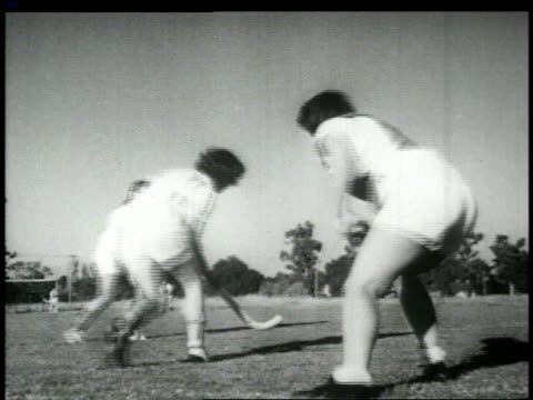1948 montage women sports including field hockey and archery / united states - field hockey stock videos and b-roll footage