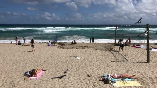 women sunbathing and ball playing at miami beach - マイアミビーチ点の映像素材/bロール