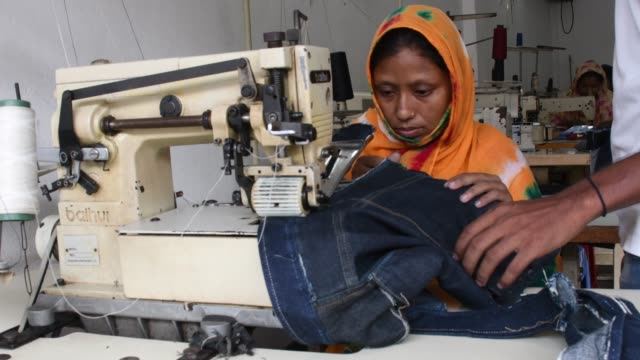 women take lessons with sewing machines at training center in savar near dhaka - savar stock videos and b-roll footage