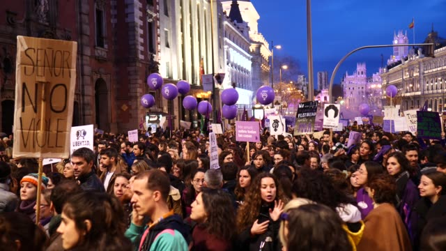 women take part in a protest during international women's day on march 08 2020 in madrid spain spain celebrates international women's day today with... - 国際女性デー点の映像素材/bロール