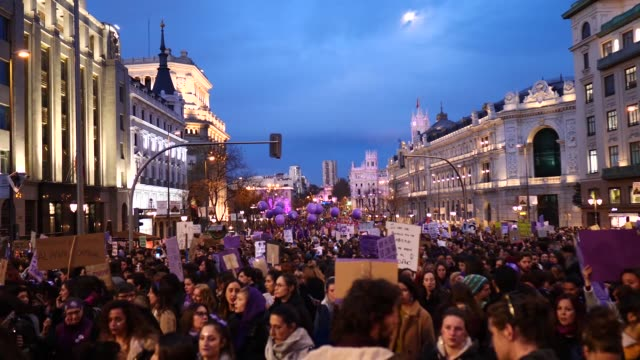 women take part in a protest during international women's day on march 08 2020 in madrid spain spain celebrates international women's day today with... - internationaler frauentag stock-videos und b-roll-filmmaterial