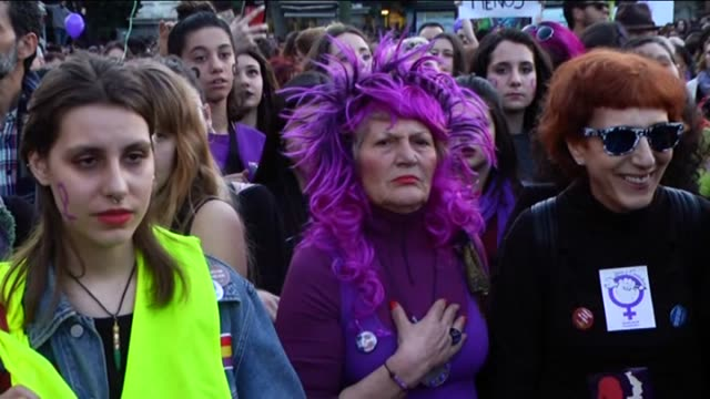 women take part in a protest rally marking the international women's day in madrid spain on march 08 2017 - internationaler frauentag stock-videos und b-roll-filmmaterial