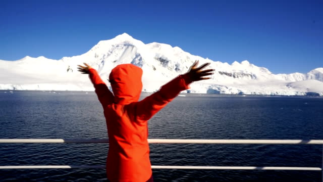 women take pictures on an antarctic ship - cruise antarctica stock videos & royalty-free footage
