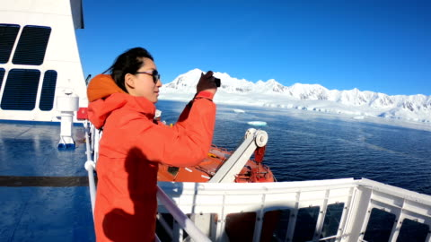 women take pictures on an antarctic ship - industrial sailing craft stock videos & royalty-free footage