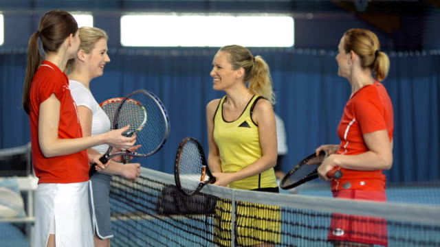 ms women talking after playing tennis double - three quarter length stock videos & royalty-free footage
