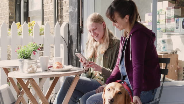 Women talking and looking at phone while stroking dog, sitting in pavement cafe.
