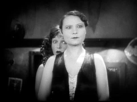 cu, b&w, women talking in cabaret dressing room, 1920's  - cabaret stock videos & royalty-free footage