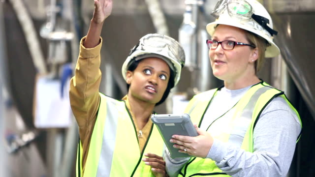 women talking, working in factory using digital tablet - solo donne video stock e b–roll