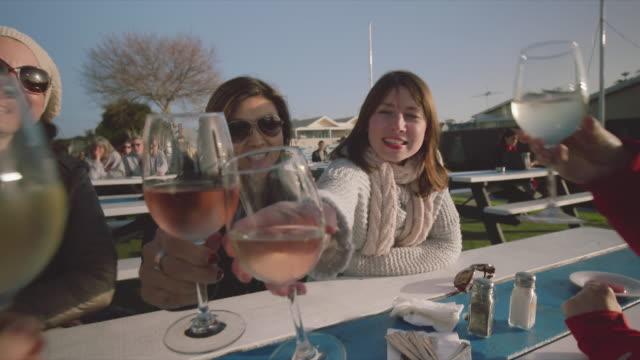4 women toasting with a glass of wine, at Mornington Peninsula, POV
