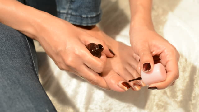 women toe nail paint - toe stock videos & royalty-free footage