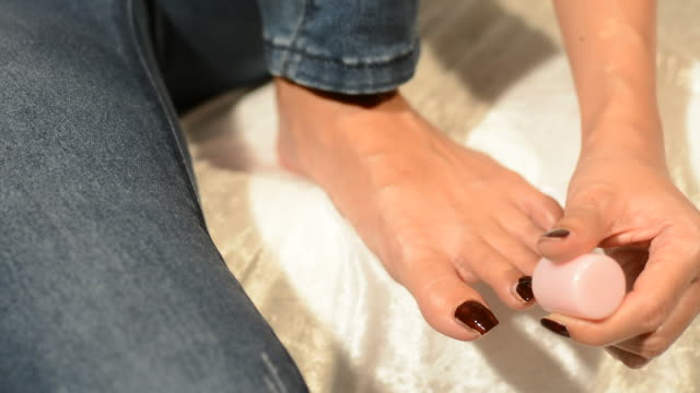 women toe nail paint - painting toenails stock videos & royalty-free footage