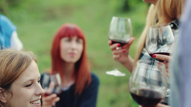 vídeos de stock e filmes b-roll de women together relaxing with a red wine glass in italy - comunidade