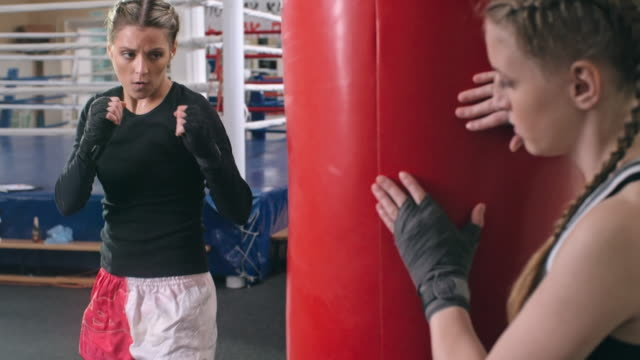 women training in boxing gym - boxing women's stock videos & royalty-free footage