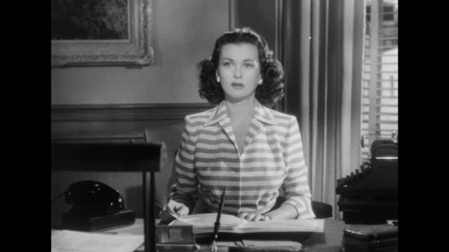 1948 women (joan bennett) turns down date with determined man (paul henreid) - film noir style stock videos & royalty-free footage