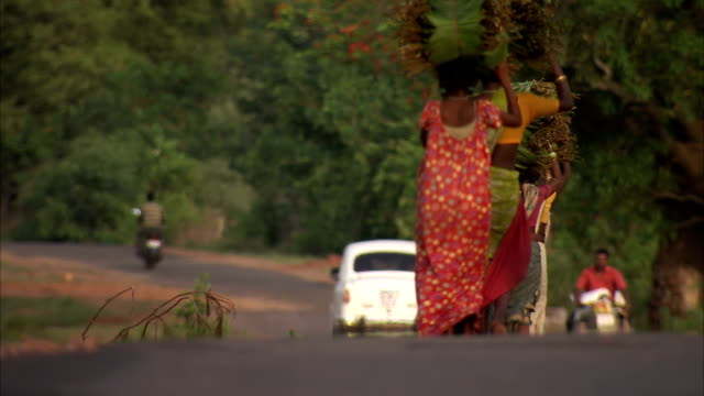 Women walk down a rural road carrying bundles on their heads. Available in HD