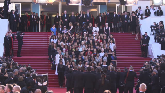 women walk the red carpet at 'girls of the sun' red carpet arrivals the 71st cannes film festival on may 12 2018 in cannes france - filmfestival stock-videos und b-roll-filmmaterial