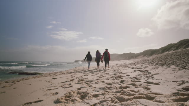 3 women walking at the beach, Mornington Peninsula, Victoria, Australia