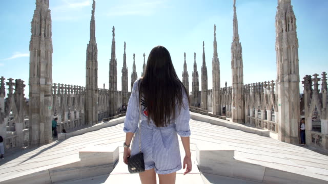 women walking at the milan cathedral - travel destinations stock videos & royalty-free footage