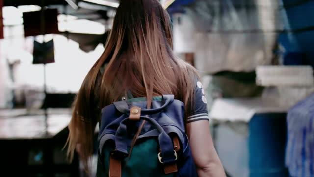 women walking in bangkok china town (yaowarat road) - south east asia stock videos & royalty-free footage