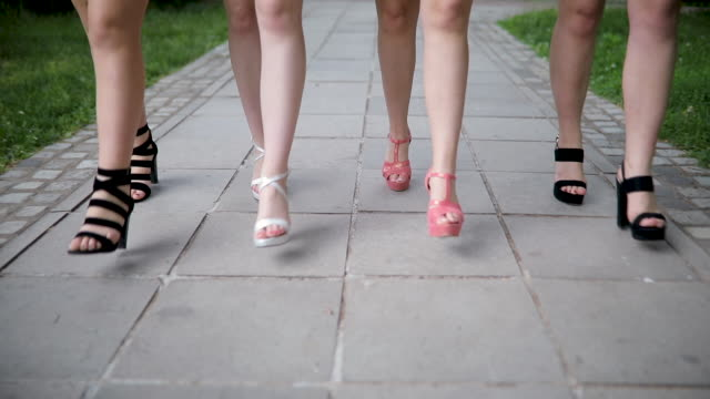 women walking in high heels - footwear stock videos & royalty-free footage