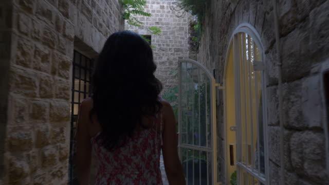 women walking in old jaffa street - tel aviv stock videos & royalty-free footage