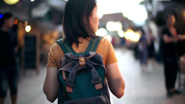 women walking night in mae hong son province, thailand - mae hong son province stock videos and b-roll footage