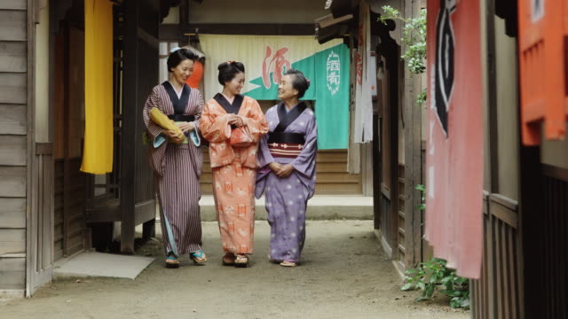 Women Walking Through Historical Edo Village