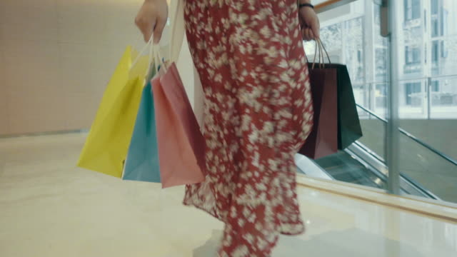 Women walking with shopping bags in shopping mall