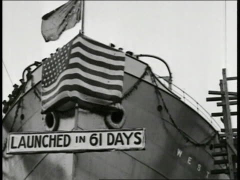 women war volunteers marching in parade ws pan us dock stacked w/ supplies ms sign on ship bow 'launched in 61 days' ws war bonds rally people... - 1918 stock videos and b-roll footage