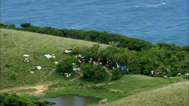 Women Washing Clothes  - Aerial View - Eastern Cape,  South Africa