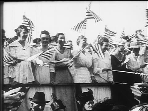women waving us flags at war bonds rally / ww i / documentary - 1917 stock videos & royalty-free footage