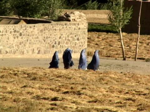 ws ls zo women wearing burkas walking in rural setting, bamyan, hazarajat, afghanistan - burka stock videos and b-roll footage