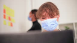 Women Wearing Protective Face Masks at Work