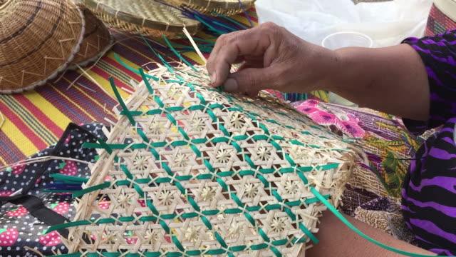 women weaving making wicker basket - weaving stock videos & royalty-free footage