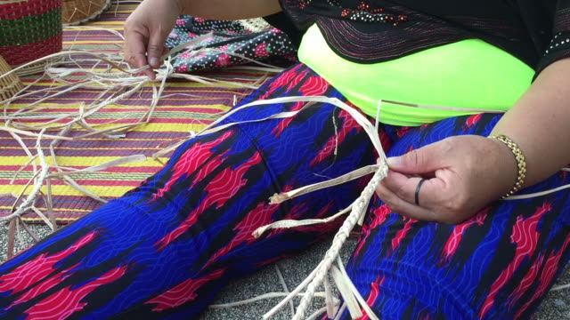 women weaving making wicker basket - wicker stock videos & royalty-free footage
