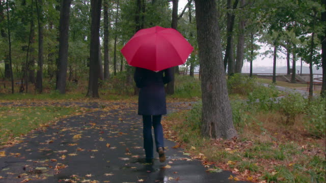 vídeos de stock e filmes b-roll de women with a red umbrella walks down a wooded path - chapéu