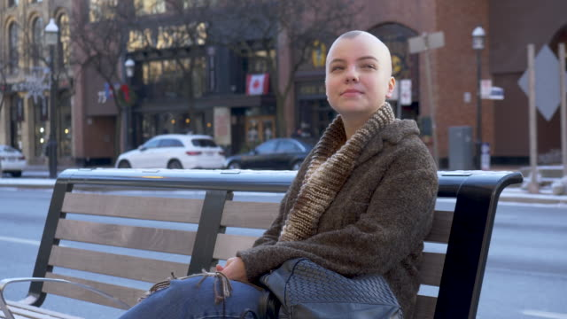 women with cancer exploring the city - balding stock videos & royalty-free footage