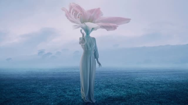 women with flower head - surrealism stock videos & royalty-free footage