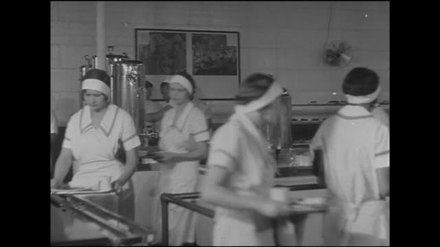 women workers dressed in oversized collar uniforms headbands moving w/ trays of food in cafeteria passing cashier others in line behind pan ladies at... - lunch stock videos & royalty-free footage