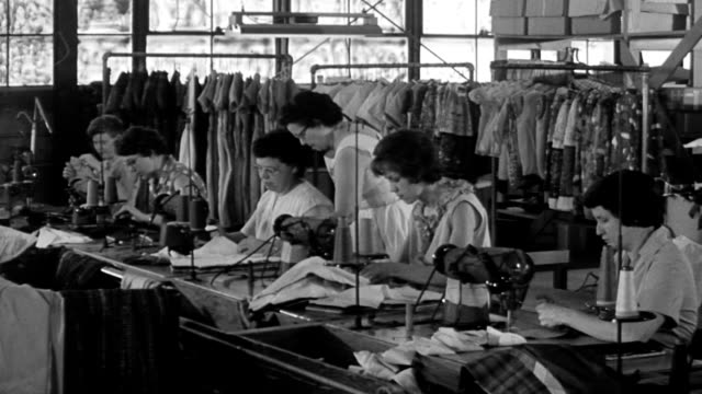 vídeos de stock e filmes b-roll de 1960 women working at sewing machines / other woman supervising their work / garments hanging in the background - 1960