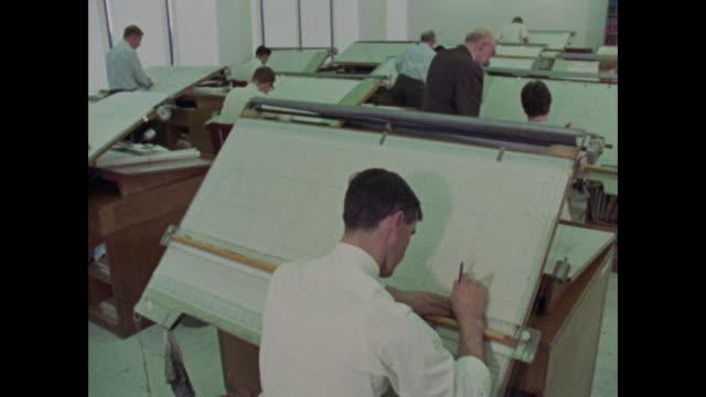 1969 women working in engineering - 製図板点の映像素材/bロール