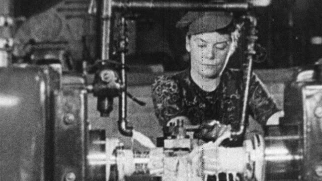 1944 MONTAGE Women working in factory during World War II / Scotland, United Kingdom