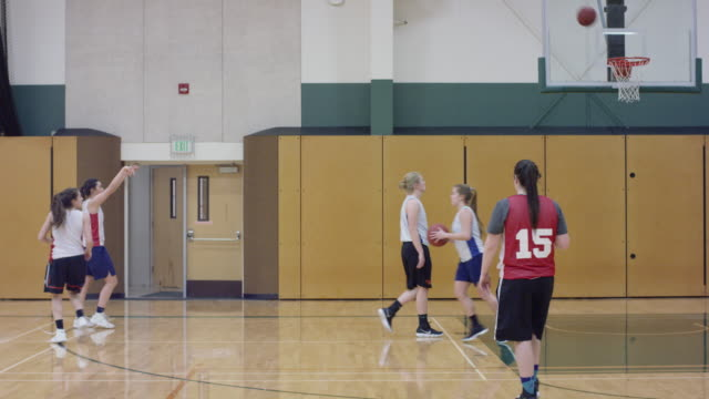 Womens Basketball Team Practicing 3-Point Shots