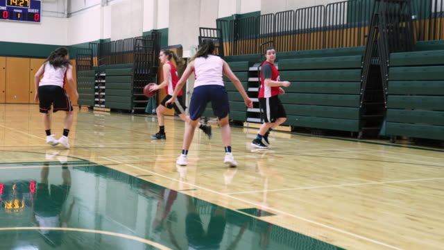 Women's Basketball Team Practicing Passing