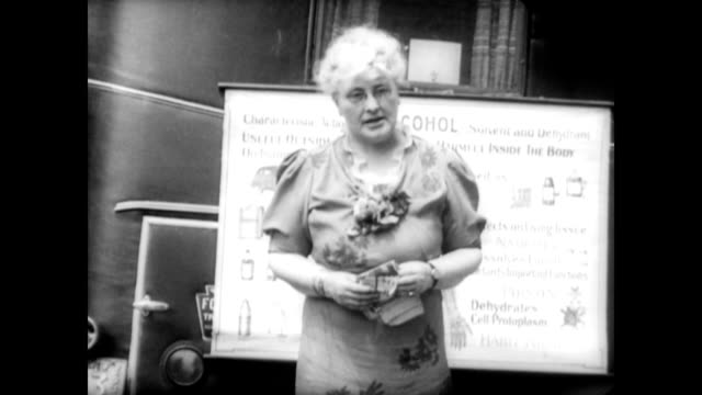 women's christian temperance union vow to fight against rum at convention / seven members of the wctu standing outside in front of female statue /... - 1937 stock videos and b-roll footage